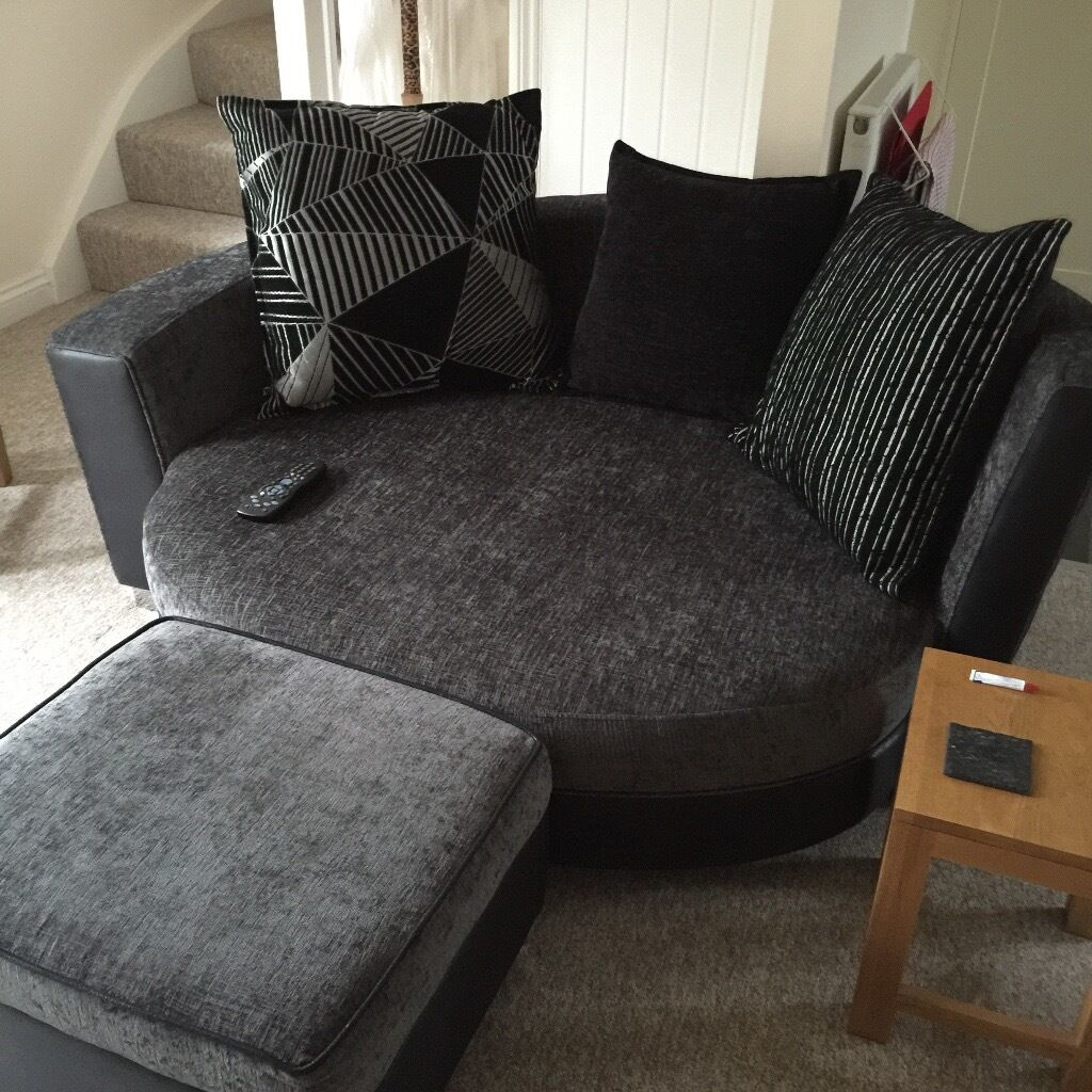 Leather Sofas Gloucestershire: DFS 2 Seater Cuddler Sofa + Footstool With Storage