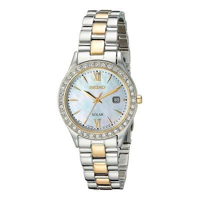 Seiko Women's Solar Mother of Pearl Two-Tone Stainless Steel Date Watch SUT074