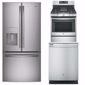 Dishwasher, refrigerator and range set, Stainless steel, GE & GE Profile