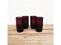 4x Purple Glass Water Drinking Cups
