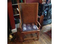 Antique French chair with rush back.
