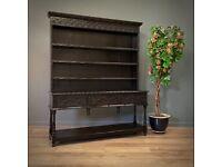 Attractive Large Antique Victorian Carved Dark Oak Country Kitchen Dresser