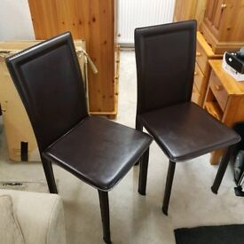 Brown faux leather 4 chairs