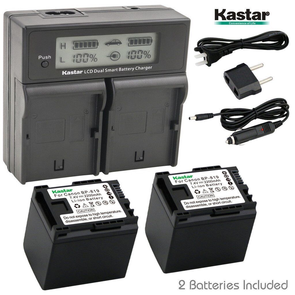 Kastar Lcd Dual Charger & 2 Battery Canon Bp-819 Vivixa H...
