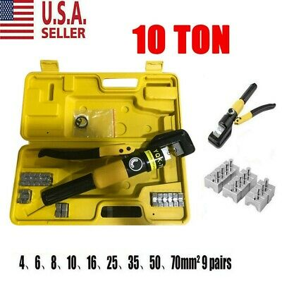 Hydraulic Wire Battery Cable Lug Terminal Crimper Crimping Tool 10 Ton W/ 9 Dies