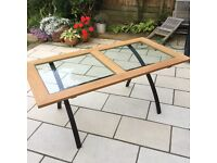 Oak and glass table with metal legs