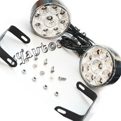 2pcs 12V 9-LED Round Daytime Running Driving Light DRL Car Fog Lamp Headlight 9W