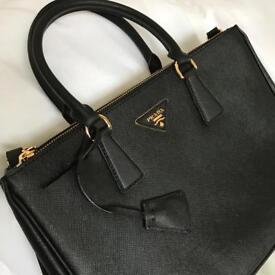 Black saffiano leather bag, medium size