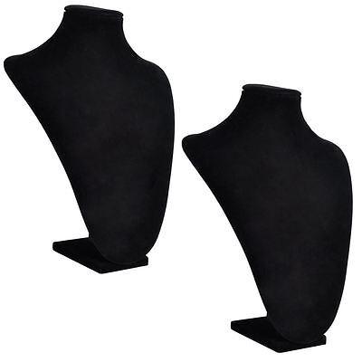 2 pcs Black Mannequin Velvet Bust Necklace Pendant Jewelry Display Stand Holder