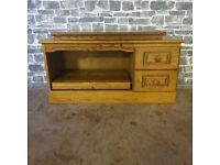 Oak Media Cabinet with Pull Out Tray