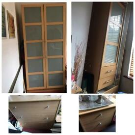 BUNDLE- double wardrobe + single wardrobe + FREE chest of drawers + FREE bedside