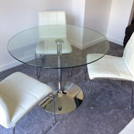 4-Seater Round Glass Top Dining Table