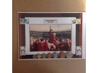 photo of 1966 world cup winners & coins of that year+ stamps
