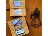 2 x Nintendo DS consoles with cases and chargers
