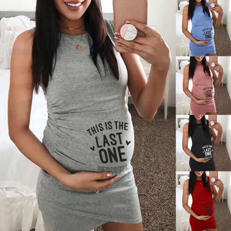 Women Maternity Pregnancy Summer Casual Letter Print Vest Sl