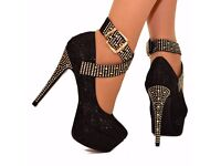 LADIES PLATFORM HIGH HEELS SPARKLY DIAMANTE STUD ANKLE STRAP PARTY SHOES 3-10 1