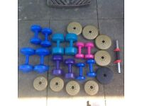Dumbbells and gym weights