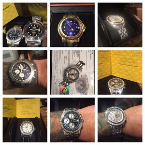 Breitling sale. Several styles. Iced out.  No ice.