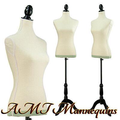 Vintage-style Female Mannequin Toros Tripod Stand Skin Tone Linen Torso -l11
