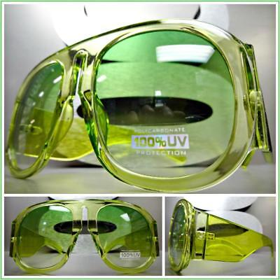 OVERSIZE EXAGGERATED VINTAGE RETRO Style SUNGLASSES Super Thick Lime Green Frame ()