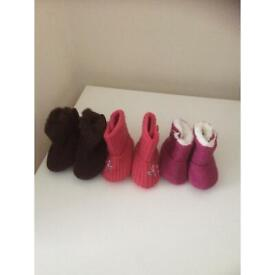 Three pairs of Baby Booties £2 Size 0-6m