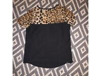 Size 10 leopard print and black top worn once