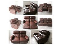 2x Reclining Leather Sofas (3 seater & 2 Seater)