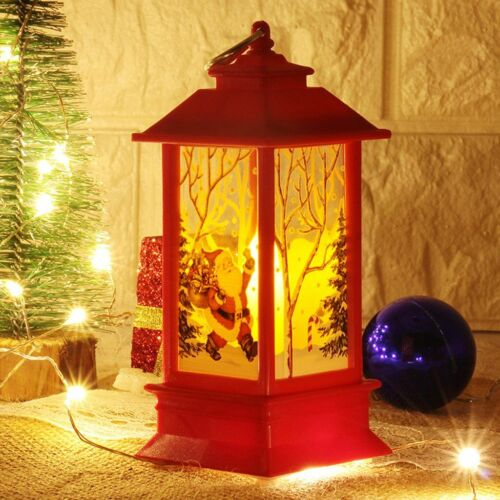 Christmas Lantern LED Candle Lamp Light Santa Claus Xmas New Year Party Decor US