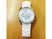 WHITE ARMANI WATCH MENS (not gucci lv louis vuitton stone island hermes michael kors versace boss)