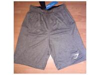 Gymshark Mens DRY Element Sweat Shorts Khaki Large with zip pockets new