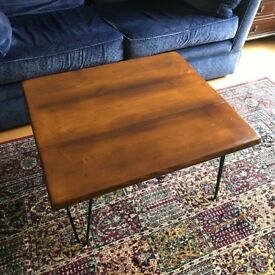 Coffee or Side Table with Hairpin Legs, Solid Scaffold Board Wood, Handmade