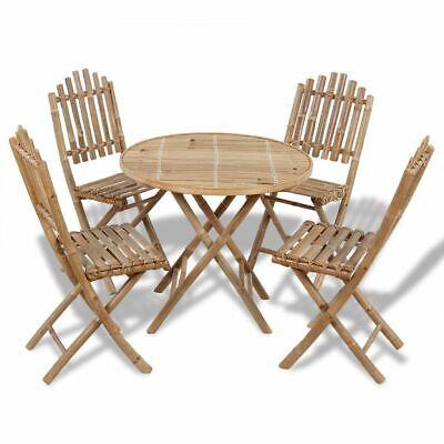 vidaXL Juego de Comedor de Jardín Plegable 5 Piezas de Bambú Mesa...