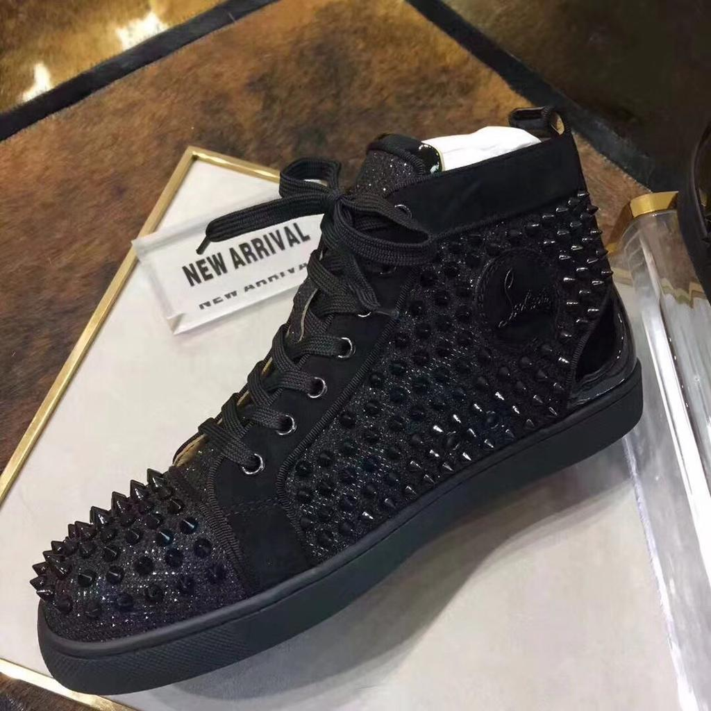 91affb374bc Christian Louboutin black patent leather high top spikes Size 9 | in  Oldham, Manchester | Gumtree