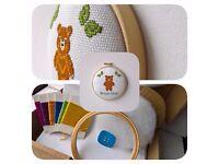 Brown Bear Cross Stitch Padded Hoop Kit