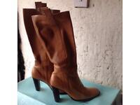 Ladies knee length tan boots