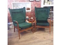 Vintage Pair of Mid Century Green Wingback Parker knoll Armchairs