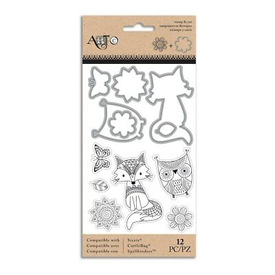 Doodle Dreams Owl   Fox Clear Stamp And Die Set By Momenta Art C 28822 New
