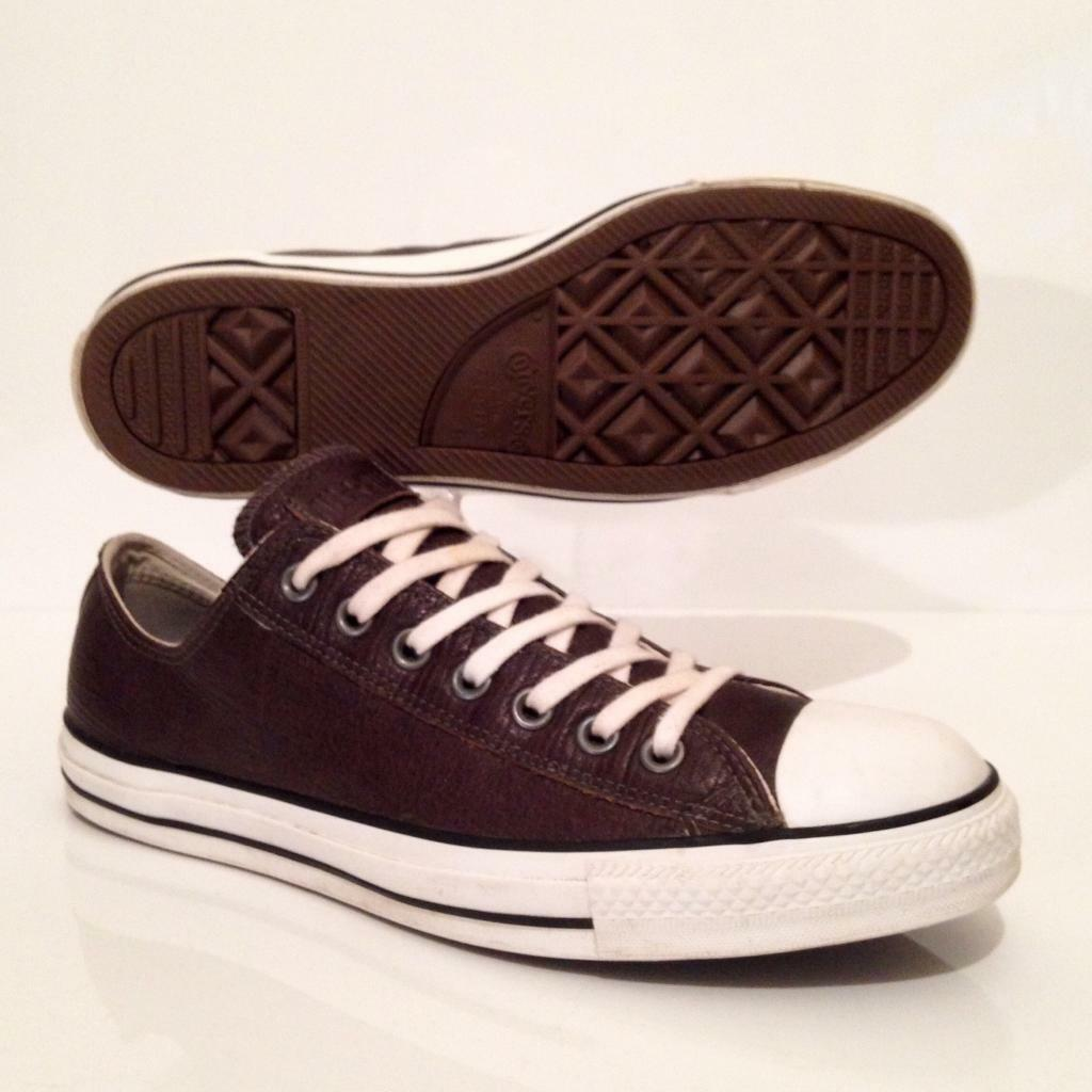 df4ca028f99b Converse All Star mens Leather Trainers Brown size 9 Low Top Sneakers EU  42.5