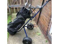 Slazenger golf clubs, bag and trolley.