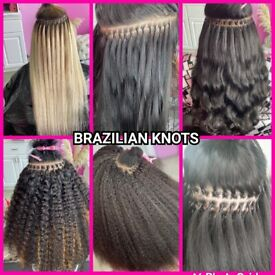 HAIR EXTENSION /BRAZILIAN KNOTS /LA WEAVE/NAKED/ MICRO/NANO RING/TAPE-IN