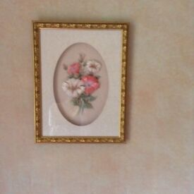 Pair of 3D Handcrafted Flower Pictures