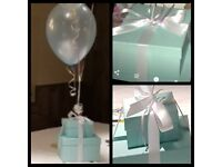 Cardboard Boxes (used once for Tiffany theme table decorations).