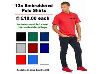 12 Embroidered Polo Shirts add your own business logo