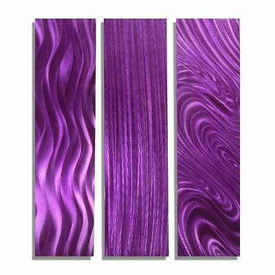 Modern Purple Art Abstract Metal Wall Decor   Purple Trilogy By Jon Allen