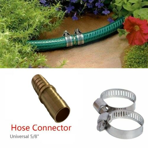 5/8 Garden Aluminum Mender Repair Kit Water Hose Male Connector barb with clamps