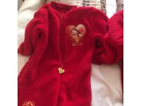 Disney Belle red fleecy all in one age2/3 yrs ex cond. Next toddler slippers reindeer size 7 as new