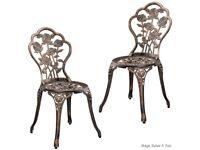 2 Cast Iron Bronze Garden Chairs New in Box