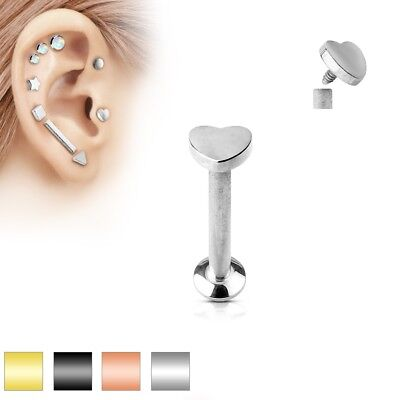 HEART Stud Labret Monroe Rings EAR LIP CHIN Cartilage Tragus Helix Conch (Lip Chin Rings Body Jewelry)