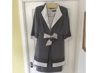 Ronald Joyce Veni Infantino mother of the bride outfit silver and grey dress and coat