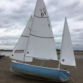A Sailing Dinghy: Devon Yawl with new outboard engine. (Will deliver to south coast)